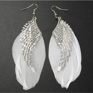 Angel Wing Feather Drop Earrings